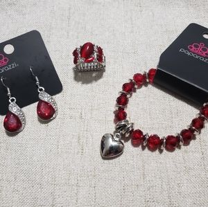 Earrings, bracelet abs ring silver and red